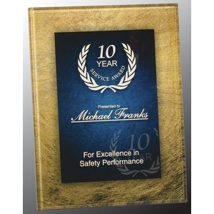 Gold and Blue Acrylic Art Plaque Award With Iron Stand